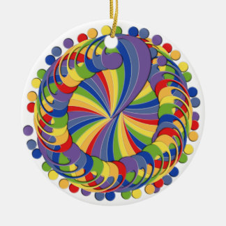 Bass Clef Pinwheel Rainbow Double-Sided Ceramic Round Christmas Ornament