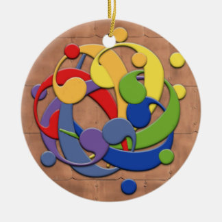 Bass Clef Rainbow Ball Puzzle Double-Sided Ceramic Round Christmas Ornament