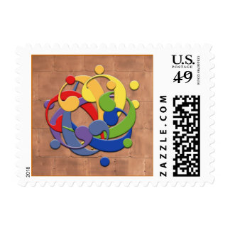 Bass Clef Rainbow Ball Puzzle Stamp