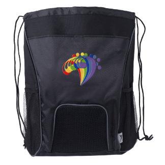 Bass Clef Rainbow Fan Drawstring Backpack