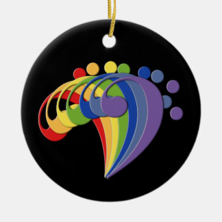 Bass Clef Rainbow Fan Ornament Pendant
