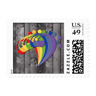 Bass Clef Rainbow Fan Postage Stamp