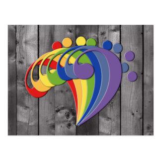 Bass Clef Rainbow Fan Postcard