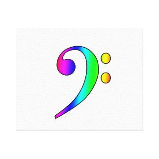 Bass Clef Rainbow Gradient Outline Canvas Print