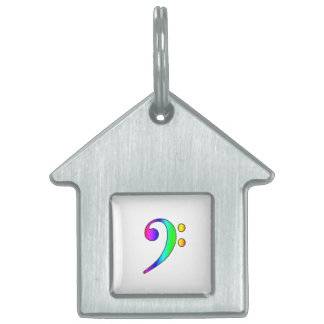 Bass Clef Rainbow Gradient Outline Pet Name Tag