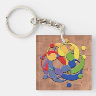 Bass Clef Rainbow Puzzle Ball Keychain