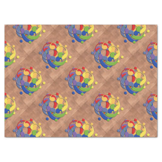 """Bass Clef Rainbow Puzzle Ball on Copper Shingles 17"""" X 23"""" Tissue Paper"""