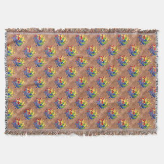 Bass Clef Rainbow Puzzle Ball on Copper Shingles Throw Blanket