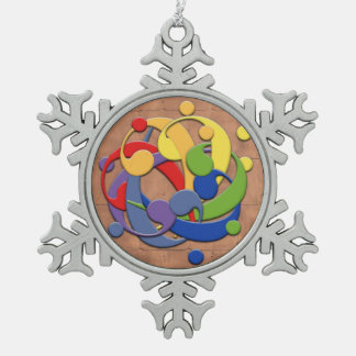 Bass Clef Rainbow Puzzle Ball Snowflake Pewter Christmas Ornament