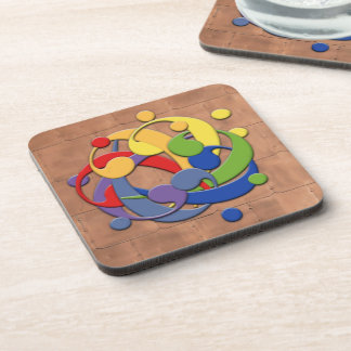 Bass Clef Rainbow Puzzle Drink Coaster