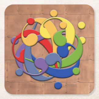 Bass Clef Rainbow Puzzle on Copper Shingles Square Paper Coaster