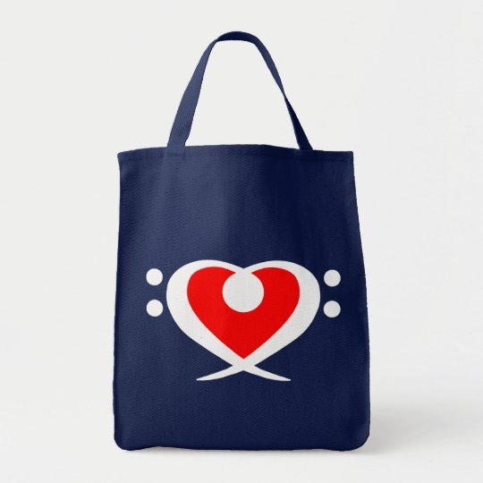 Bass Clef Red Heart Bag