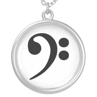 Bass Clef Round Pendant Necklace
