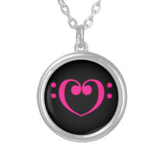 Bass Clef Valentine Heart Silver Plated Necklace at Zazzle