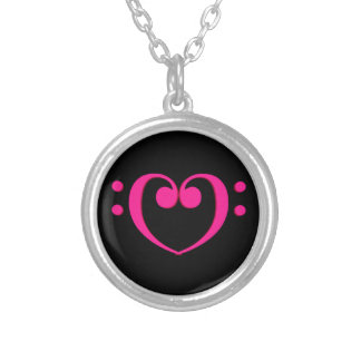 Bass Clef Valentine Heart Silver Plated Necklace