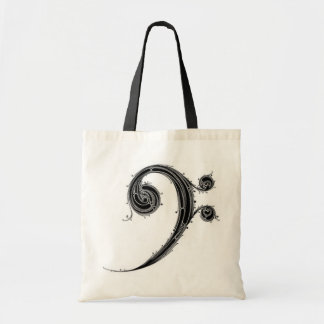 bass cleff tote bags