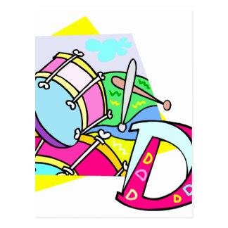 Bass drum and letter D graphic colourful image Postcard