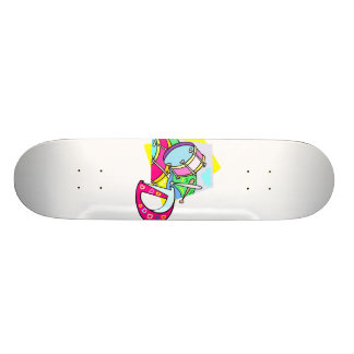 Bass drum and letter D graphic colourful image Skateboard Deck