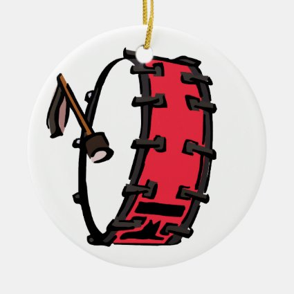 Bass Drum Marching Red with Mallet Clear Head Christmas Tree Ornament