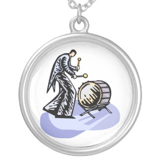 Bass Drum Player Tall Figure Orchestra Bass Silver Plated Necklace