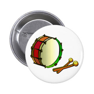 Bass drum with mallets red green 2 inch round button