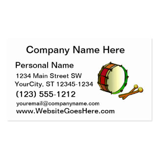 Bass drum with mallets red green Double-Sided standard business cards (Pack of 100)
