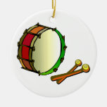 Bass drum with mallets red green christmas ornament