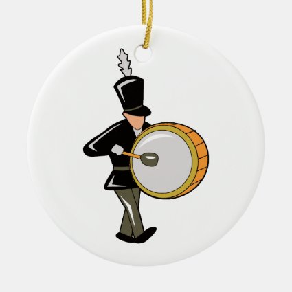 bass drummer marching black abstract.png Double-Sided ceramic round christmas ornament