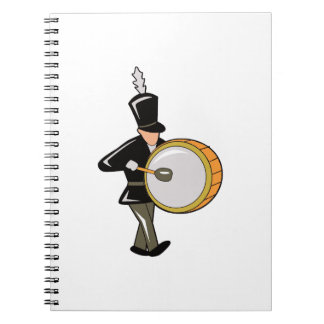 bass drummer marching black abstract.png spiral notebook