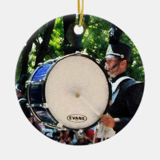 Bass Drums On  Parade Double-Sided Ceramic Round Christmas Ornament