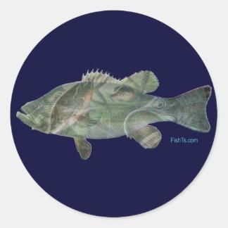 Bass feeding inside the bass-Great Mural effect Classic Round Sticker