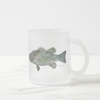 Bass feeding inside the bass-Great Mural effect Frosted Glass Coffee Mug