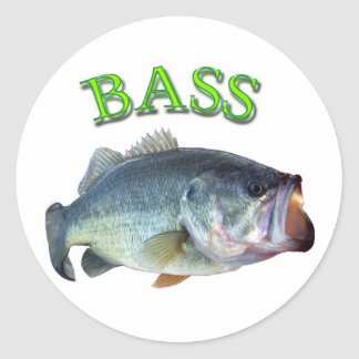 bass fish 14 classic round sticker