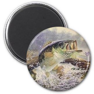 bass fish 2 inch round magnet