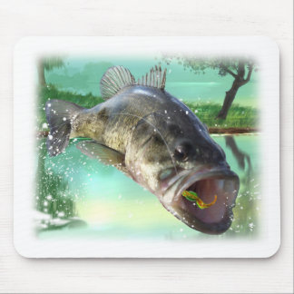 bass fish green mouse pads