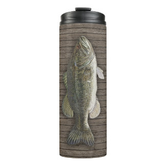 Bass Fish On Wood Deck Thermal Tumbler