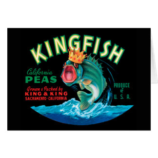 Bass Fish Wearing a Crown on a Black Background Card