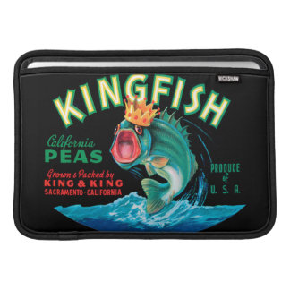 Bass Fish Wearing a Crown on a Black Background MacBook Sleeve
