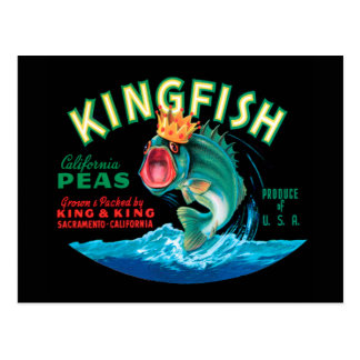 Bass Fish Wearing a Crown on a Black Background Postcard