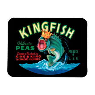 Bass Fish Wearing a Crown on a Black Background Magnets
