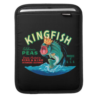 Bass Fish Wearing a Crown on a Black Background Sleeve For iPads