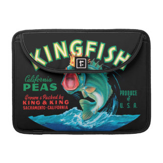 Bass Fish Wearing a Crown on a Black Background Sleeve For MacBook Pro