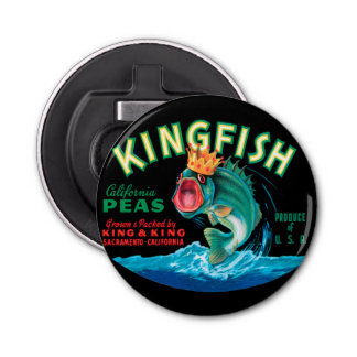 Bass Fish Wearing a Crown on a Black Background Button Bottle Opener