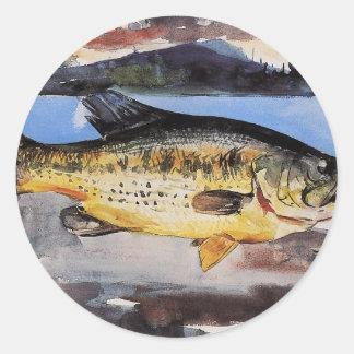 Bass Fish Winslow Homer Classic Round Sticker