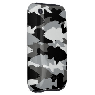 Bass Fishing Black Camo Tough iPhone 3 Cases