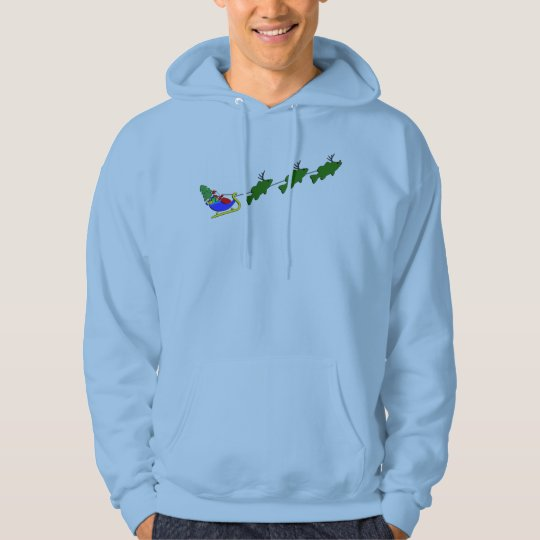 Bass Fishing Christmas Sleigh Hoodie