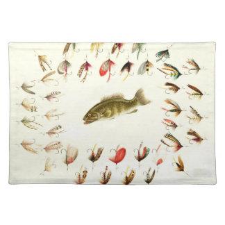 Bass Fishing Flies 1882 Cloth Placemat