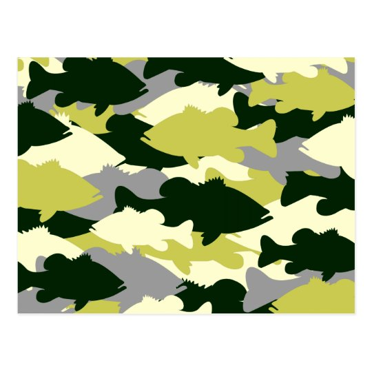 Bass Fishing Green Camo Postcard