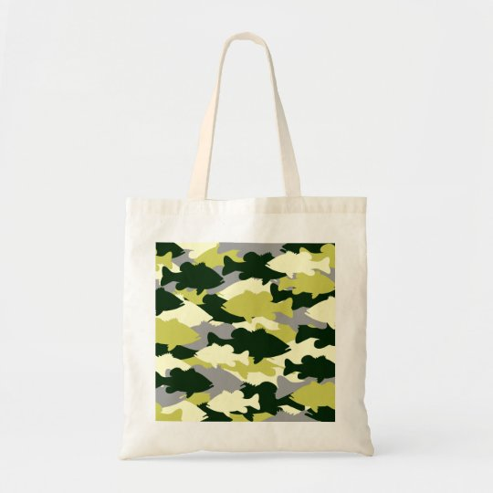 Bass Fishing Green Camo Tote Bag
