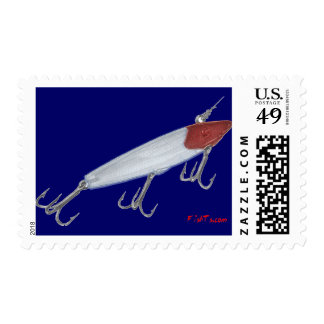 Bass fishing lure. Topwater lure Stamp